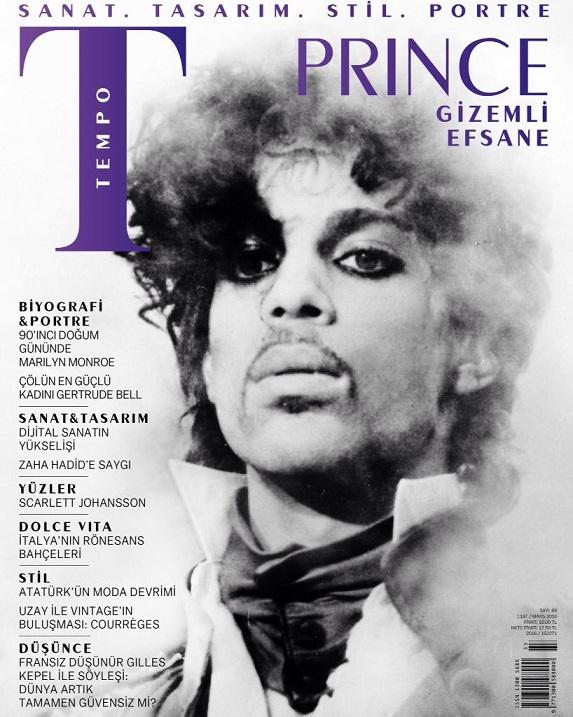 Prince, Tempo'nun Mayıs 2016 kapağında... Logo, anısına bu kez mor renkte...